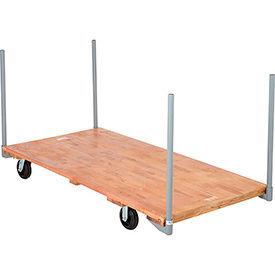 "Stake Handle Hardwood Deck Platform Truck 72 x 36 2000 Lb. Capacity 6"" Rubber Casters"