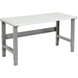 """48""""W X 30""""D ESD Safety Edge Top Work Bench - Adjustable Height - 1-1/4"""" Top - Gray"""