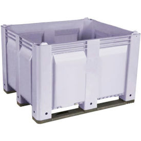 Decade M40SGY1 Pallet Container Solid Wall 48x40x31 Long Side Runners Gray 1500 Lb Capacity