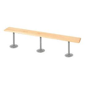 "Locker Bench Hardwood Top w/Steel Pedestals, Bolt Down Style, 96""W x 9-1/2""D x 17""H"