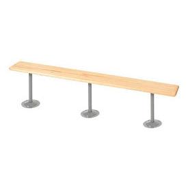 "Locker Bench Hardwood Top w/Steel Pedestals, Bolt Down Style, 108""W x 9-1/2""D x 17""H"