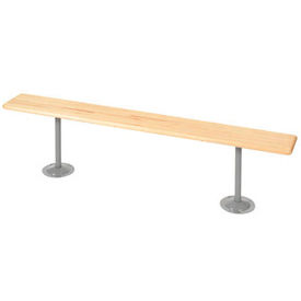 "Locker Bench Hardwood Top w/Steel Tube Pedestals, Bolt Down Style, 108""W x 9-1/2""D x 17""H"