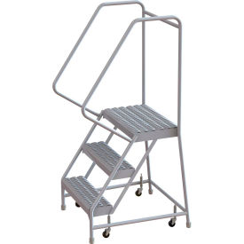 "3 Step Aluminum Rolling Ladder, 24""W Grip Step, 30"" Handrails"