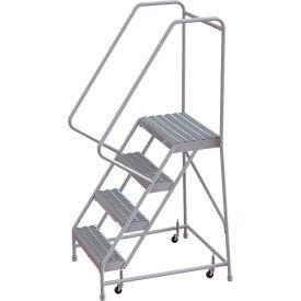 "4 Step Aluminum Rolling Ladder, 24""W Grip Step, 30"" Handrails"