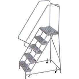 "5 Step Aluminum Rolling Ladder, 24""W Grip Step, 30"" Handrails"
