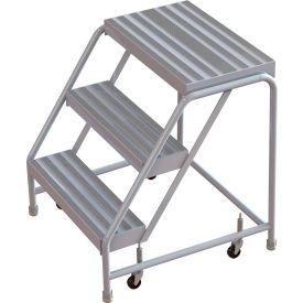 "3 Step Aluminum Rolling Ladder, 24""W Ribbed Step, W/O Handrails"