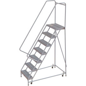 "7 Step Aluminum Rolling Ladder, 24""W Ribbed Step, 30"" Handrails"