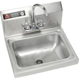"Aero Wall Mount Stainless Steel Hand Sink 14""Lx10""Wx5""D Basin w/7"" Gooseneck Faucet 8"" Backsplash"