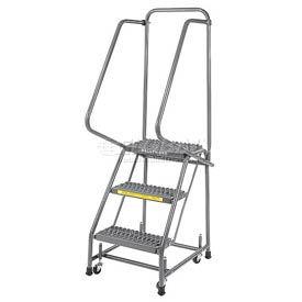 "Grip 16""W 3 Step Steel Rolling Ladder 14""D Top Step"