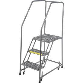 "Grip 16""W 3 Step Steel Rolling Ladder 21""D Top Step"