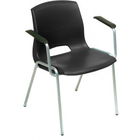 Stack Chairs With Arms - Plastic - Black - Merion Collection - Pkg Qty 4