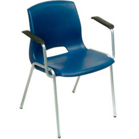 Merion Vented Stackable Chairs With Armrests - Blue - Pkg Qty 4