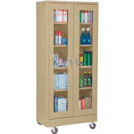Mobile Easy View Storage Cabinet Assembled 46x18x78 - Sand