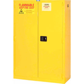 "Global&#8482 Flammable Cabinet - Manual Close Double Door 45 Gallon - 43""W x 18""D x 65""H"