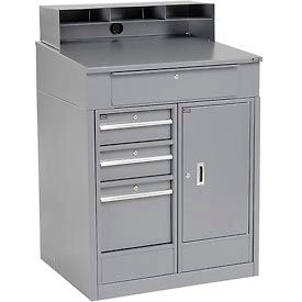 """Shop Desk with 4 Drawers and Cabinet - Gray 34.5""""W x 30""""D x 51.5""""H"""