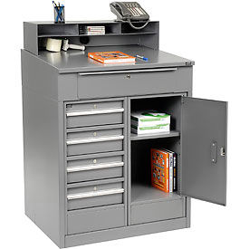 """Shop Desk with 5 Drawers and Cabinet - Gray 34.5""""W x 30""""D x 51.5""""H"""