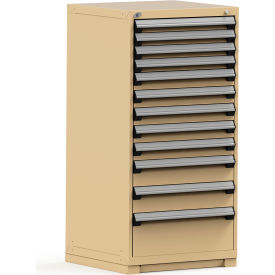 Rousseau Modular Storage Drawer Cabinet 30x27x60, 12 Drawers (4 Sizes) w/o Divider, w/Lock, Beige