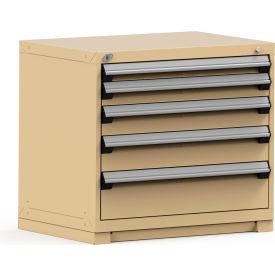 Rousseau Modular Storage Drawer Cabinet 36x24x32, 5 Drawers (5 Sizes) w/o Divider, w/Lock, Beige