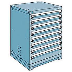 Rousseau Modular Storage Drawer Cabinet 30x27x40, 8 Drawers (2 Sizes) w/o Divider, w/Lock, Blue