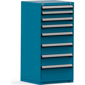 Rousseau Modular Storage Drawer Cabinet 30x27x60, 8 Drawers (5 Sizes) w/o Divider, w/Lock, Blue