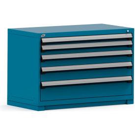 Rousseau Modular Storage Drawer Cabinet 48x24x32, 5 Drawers (5 Sizes) w/o Divider, w/Lock, Blue