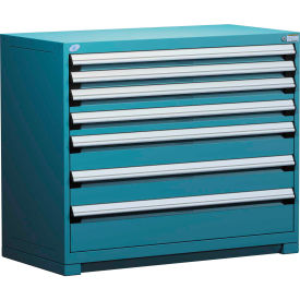 Rousseau Modular Storage Drawer Cabinet 48x24x40, 7 Drawers (4 Sizes) w/o Divider, w/Lock, Blue