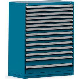Rousseau Modular Storage Drawer Cabinet 48x24x60, 14 Drawers (3 Sizes) w/o Divider, w/Lock, Blue