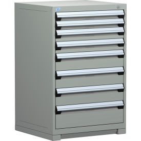 Rousseau Modular Storage Drawer Cabinet 30x27x40, 7 Drawers (4 Sizes) w/o Divider, w/Lock, Gray