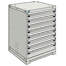 Rousseau Modular Storage Drawer Cabinet 30x27x40, 8 Drawers (2 Sizes) w/o Divider, w/Lock, Gray