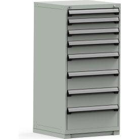 Rousseau Modular Storage Drawer Cabinet 30x27x60, 8 Drawers (5 Sizes) w/o Divider, w/Lock, Gray