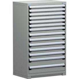 Rousseau Modular Storage Drawer Cabinet 30x27x60, 14 Drawers (3 Sizes) w/o Divider, w/Lock, Gray