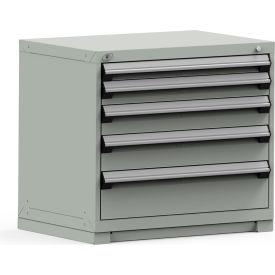 Rousseau Modular Storage Drawer Cabinet 36x24x32, 5 Drawers (5 Sizes) w/o Divider, w/Lock, Gray