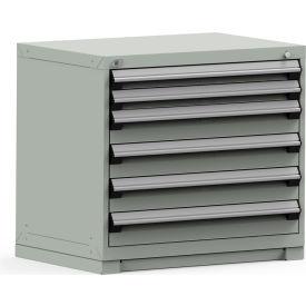 Rousseau Modular Storage Drawer Cabinet 36x24x32, 6 Drawers (2 Sizes) w/o Divider, w/Lock, Gray