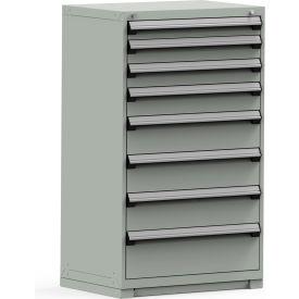 Rousseau Modular Storage Drawer Cabinet 36x24x60, 8 Drawers (5 Sizes) w/o Divider, w/Lock, Gray