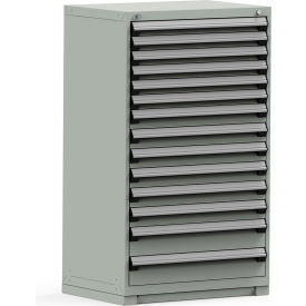 Rousseau Modular Storage Drawer Cabinet 36x24x60, 14 Drawers (3 Sizes) w/o Divider, w/Lock, Gray