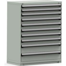 Rousseau Modular Storage Drawer Cabinet 48x24x60, 10 Drawers (3 Sizes) w/o Divider, w/Lock, Gray