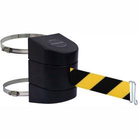 Tensabarrier Clamp Wall Mount 15' L Retractable Belt Barrier, Black/Yellow Chevron