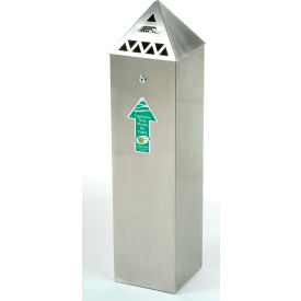 Pyramid Top Tower Outdoor Ashtray Stainless Steel