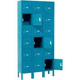 Infinity™ Locker Six Tier 12x12x12 18 Door Assembled Blue