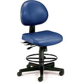 OFM 24 Hour Ergonomic Armless Task Chair with Drafting Kit, Antimicrobial Vinyl, Mid Back, Navy