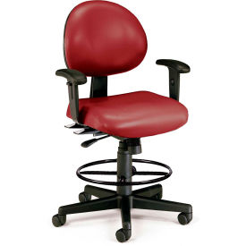 OFM 24 Hour Ergonomic Task Chair with Arms and Drafting Kit, Antimicrobial Vinyl, Mid Back, Wine