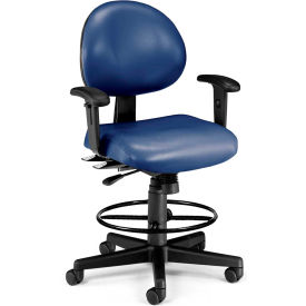 OFM 24 Hour Ergonomic Task Chair with Arms and Drafting Kit, Antimicrobial Vinyl, Mid Back, Navy