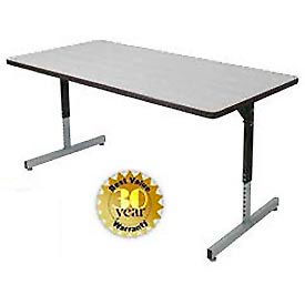 Pedestal Table With Height Adjustable Legs 36x72
