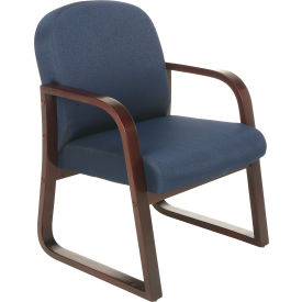 Mahogany Wood Reception Chair Blue
