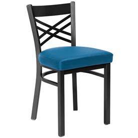Fabric Cross Back Chair Blue