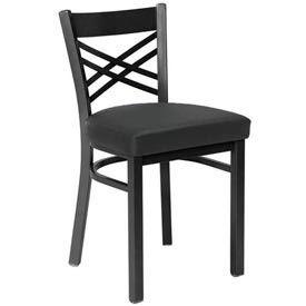 Vinyl Cross Back Chair Textured Black