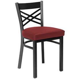 Vinyl Cross Back Chair Burgundy