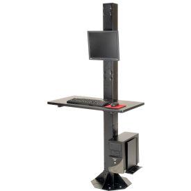 "81""H Stationary Floor Mount Orbit Computer Station with VESA LCD Mount - Black"