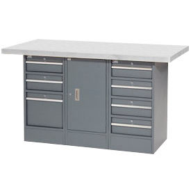 "60""W x 30""D Plastic Top 7 Drawer/1 Cabinet Workbench"