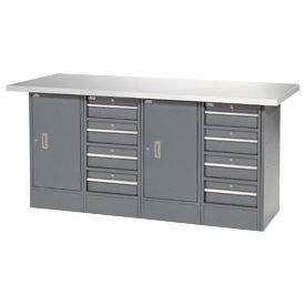 "72""W x 30""D  Plastic Top 8 Drawer/2 Cabinet Workbench"